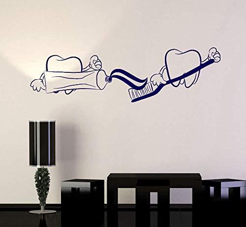 Wandaufkleber Kunst Zähne Zahnarzt Zahnmedizin Zahnpasta Vinyl Aufkleber Badezimmer Dekoration Tapete Wasserdichtes Innenwandbild L 103Cmx30Cm
