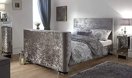 Newark Elektrisches TV-Bett,silberner Pannesamt, mit TV-Heber, silber, Doppelbett
