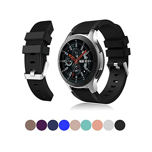 Sports Wtach Bands Compatible with Samsung Galaxy Watch 46mm 22mm Silicone Replacement Strap Samsung Gear S3 Classic Smart Watch Band 9 Colors Available (Black, 22mm)