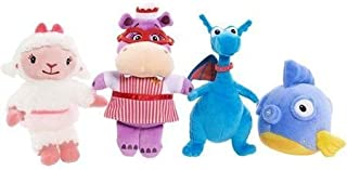 Doc Mcstuffins Plush Bean Collector Set: Lambie, Stuffy the Proud Dragon, Hallie the Hippo Nurse and Squeakers the Fish