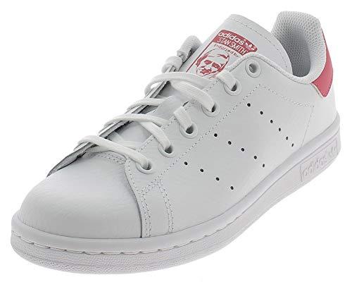 adidas Unisex Kids Stan Smith J Sneaker, FTWR White/FTWR White/Real Pink S18, 5.5 UK