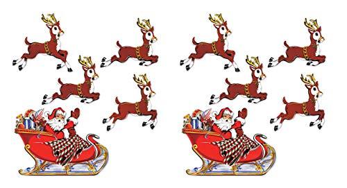 "Beistle Vintage Christmas Santa & Sleigh Cutouts, 10¾""-17¾"", Multicolor"