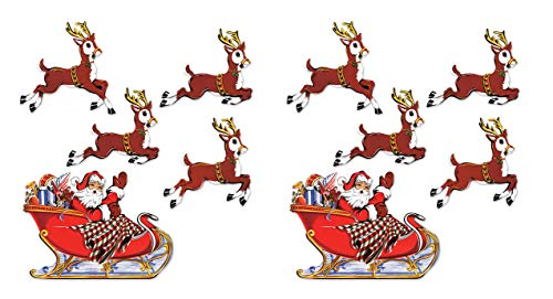 "Beistle 20055 Vintage Christmas Santa & Sleigh Cutouts, 10¾""-17¾"", Multicolor"