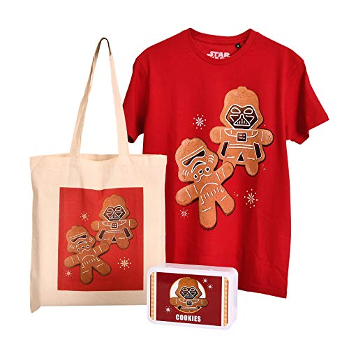 Star Wars Geschenk Set Galactic Empire Cookies Darth Vader Stormtrooper Box Jutebeutel T-Shirt für Fans - L