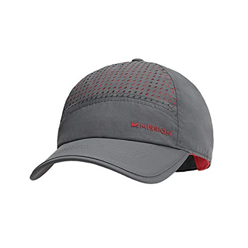 Mission Max Cooling Laser Cut Performance Hat- Unisex Baseball Cap, Cools when Wet- Charcoal/Teaberry