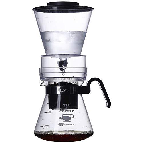 Zhaoyun Wassertropf-Kaffeekanne, holländische Kaffeemaschine für den Haushalt, Cold Brew, Kaffeebereiter, verstellbares Ventil, mit Griff, transparent