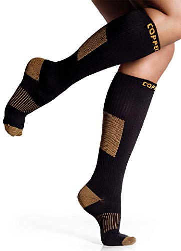 Womens Compression Socks for Nurses - CopperJoint Copper-Infused Compression Socks for Men with Comfortable Design, Great for Muscle and Joint Recovery - Large - X-Large