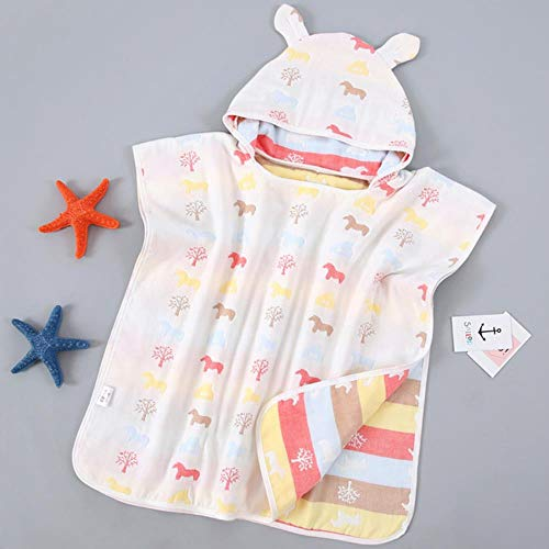 Babybadhanddoeken Ultrazachte kindermantel met mantel Cartoon gaas Baby Bibulous Badjas Strandlaken 60 * 60cm # 8, PAARD
