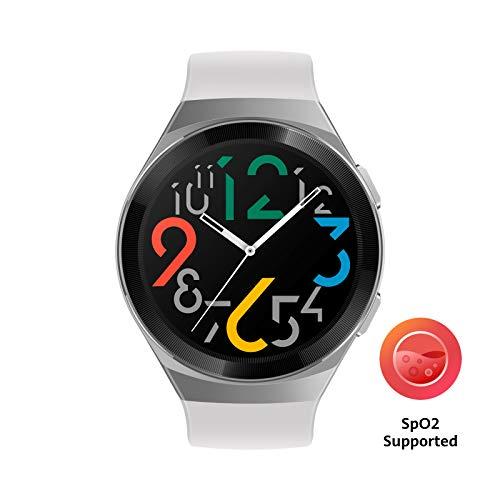 HUAWEI Watch GT 2e Smartwatch (SpO2-Monitoring,Herzfrequenz-Messung,Musik Wiedergabe,GPS,Fitness Tracker,5ATM wasserdicht) icy white