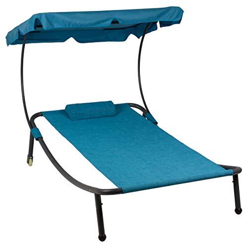 Divero Sonnenliege Sonnenbett Blau 202 x 139 x 152 cm mit Sonnendach und Kopfkissen für eine Person Gartenliege mit Räder Stahlrahmen Mamry