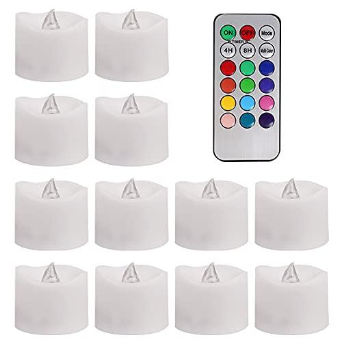 Komake Velas de LED Sin Llama 12 Pcs, Con Mandos a Distancia, Velas LED Sin Fuego Velas de Té 12 colores Velas LED Paquete de 12 Velas LED