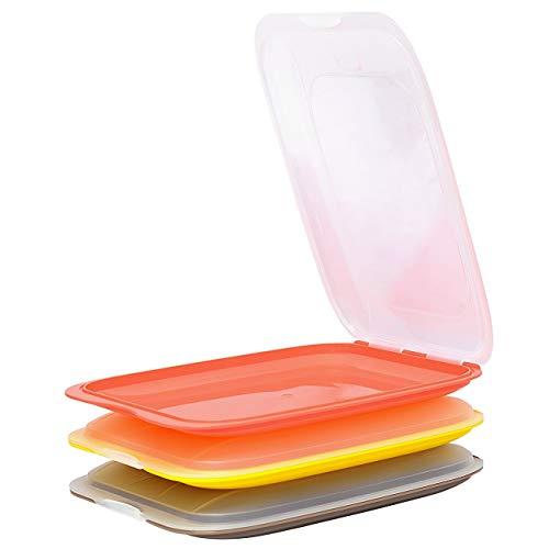 Juego de 3 recipientes apilables para embutidos, queso, color marrón y amarillo
