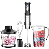Elechomes 4-in-1 Hand Immersion Blender with 800W Powerful Motor, 304 Stainless Steel Stick Blender,...