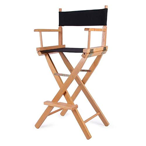 ZCL Folding Chairs for Outide Lightweight Folding Stool Portable Wooden Canvas Chair, 30-inch Simple Bar Chair High Chair Folding Stool Dining Chair Armchair Folding Chair Covers (Color : Black)