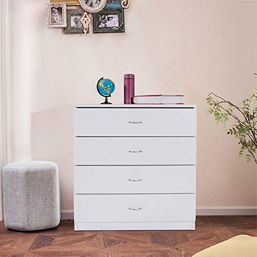Zipperl 4 Drawers Dresser, White Wood Chest Cabinet for Closet to Storing Clothes,Cosmetic and All Kind Accessories