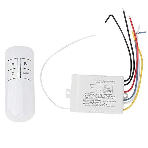 zhuolong Interruptor de Control Remoto del transmisor del Receptor de luz de Pared inalámbrico Digital de 3 vías ON/Off 220V