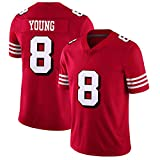 San Francisco 49ers # 8 Maillot de Football américain brodé Young, Elite Edition T-Shirt Rugby Jersey Supporters Short Sleeve Top T-Shirt Fans-red-3XL(195~200)