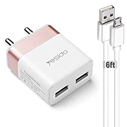 YESIDO 2.4A Dual Port USB Wall Charger Adapter with 2 Metre Micro USB Cable for All Android Smartphones