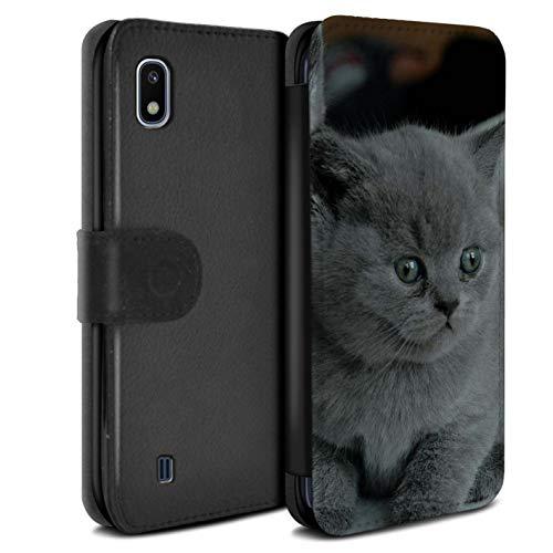 Stuff4 Coque pour Samsung Galaxy A10 2019 Photos Mignonnes Bébé Animal Chaton Gris Chat Désign Retourner PU Faux Cuir Etui Housse Case