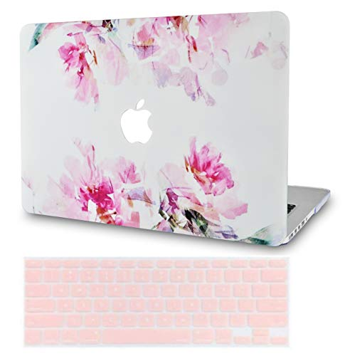 LuvCase 2 in 1 Laptop Case with Keyboard Cover For MacBook Pro 13' (2020/19/18/17/16 Release) with/without Touch Bar A2159/A1989/A1706/A1708 Rubberized Plastic Hard Shell Cover (Flower 22)