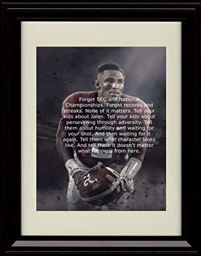 Framed Jalen Hurts Autograph Replica Print - Alabama Crimson Tide- Adversity Quote