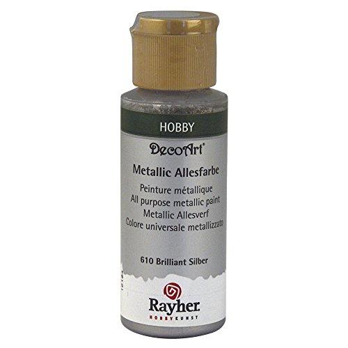 Rayher 38001610 Metallicfarbe, brillant silber, Flasche 59 ml, Acrylfarbe silber