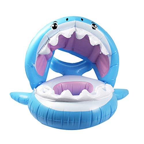 LACKINGONE Aufblasbarer Baby Schwimmring Hai Luftmatratzen mit Schattendach für 9 Monate bis 36 Monate Kinder 78 * 91 * 25 cm