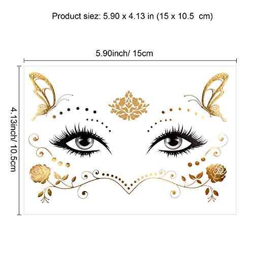 Konsait 8 Sheets Face Tattoo Sticker Metallic Temporary Transfer Tattoo Waterproof Face Jewels for Women Girls Make Up Dancer Costume Parties, Shimmer Glitter Gold Tattoos,Butterfly Star Freckle Scale 5