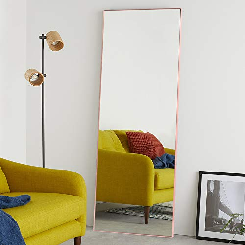 """NeuType Full Length Mirror Standing Hanging or Leaning Against Wall, Large Rectangle Bedroom Mirror Floor Mirror Dressing Mirror Wall-Mounted Mirror, Aluminum Alloy Thin Frame, Rose Gold, 65""""x22"""""""