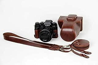 Fujifilm Fuji 富士 PEN X-T2 X-T3 XT2 XT3 カメラ バッグ カメラ ケース、koowl 手で作った最高級のpu革の全身カメラ保護殻、Fujifilm Fuji 富士 PEN X-T2 X-T3 XT2 XT3 ケース(18-55mmのレンズに適用)向けの透かし彫りベース+ショルダーストラップ+ミニ収納ケース、防水、防振、携帯型 (コーヒー色)