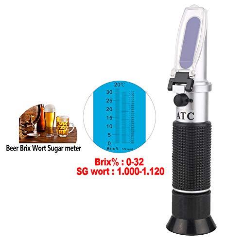 Heatile Refraktometer Brix mit ATC Brix 0-32{383062037b4cb91e8ce712208526b45629e0d93ce62b27d870ebf97faf230fd7}, SG Wort 1.000-1.130 zuckergehalt messgerät für Bierwürze SG, Traubenmost, und Konzentrationen von Getränken, Suppen