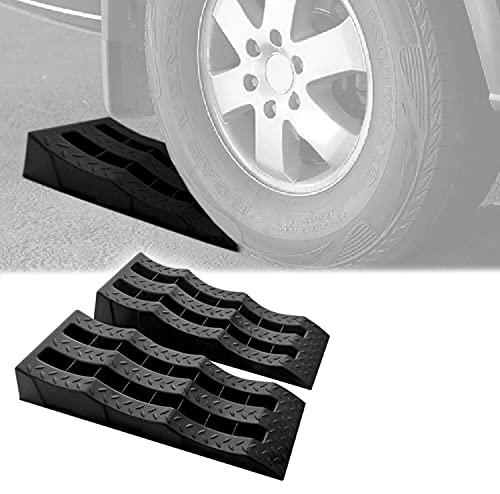 OMAC Auto Accessories Car Multilevel Ramp Heavy Duty Leveling Blocks | Black Chocks Car Tires Lifting Stabilization 2 Pcs. | Vehicle Ramp - Pair 5.5 Tons / 11000 lbs GVW Capacity