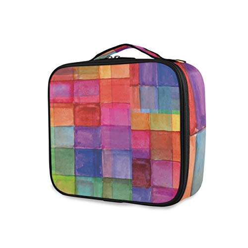 SUGARHE Impression de carrés de Couleurs Arc-en-Ciel,Sac cosmétique Multifonctionnel La beauté