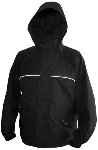 Viking Torrent Waterproof and Windproof All Weather Shell Jacket with Reflective Piping, Black, Small