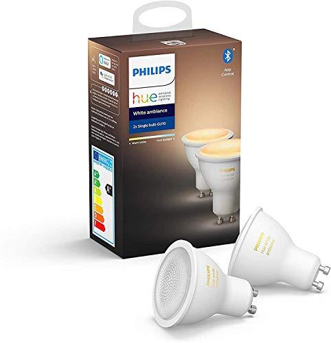 Philips Hue Ampoules LED Connectées White Ambiance GU10 Compatible Bluetooth, Fonctionne avec Alexa Pack de 2