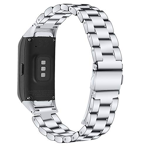Compatible with Samsung Galaxy Fit SM-R370 Bands, Galaxy Fit Watch Band Solid Stainless Steel Metal Replacement Bracelet Strap for Galaxy Fit SM-R370 Smart Watch, Adjustable (Silver)