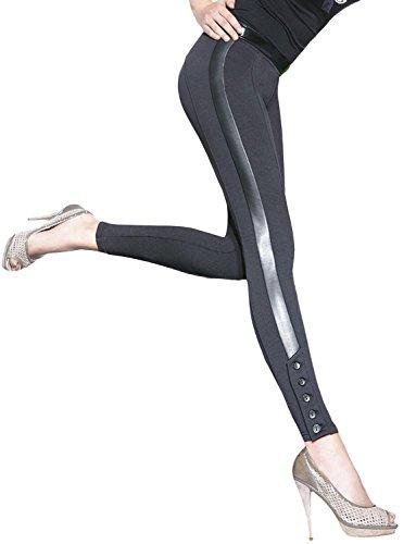 Luxus-Leggings in Lederoptik, mit Knopfleiste, sehr edel (Jessica) Gr. M