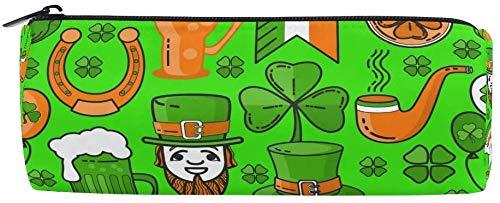 Federmäppchen St. Patrick's Day Hut Kleeblatt Kleeblatt Reißverschluss Bleistifttasche Tasche für Teenager Mädchen und Jungen, Reise-Make-up-Tasche für Frauen