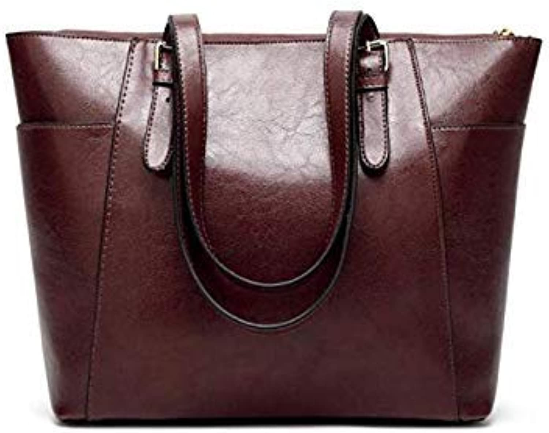 Bloomerang FGJLLOGJGSO Female Shoulder Bags Fashion Women Handbags Oil Wax Leather Large Capacity Tote Casual PU Leather Crossbody Bag color Coffee 32CMX13CMX28CM