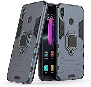 Honor 8X Iron Man Case With Metal Ring & Magnetic Car Holder - Navy Blue