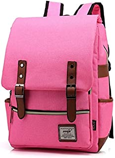 WUXiaodanDan Men and Women's Vintage Outdoor Canvas Large Travel Backpack Schoolbag Daypack for Girls and Boys (Color : Pink)