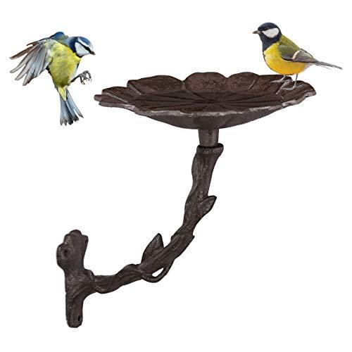 Relaxdays Vogeltränke aus Gusseisen, Blüte, Gartendeko, Wandmontage, Vogelfutterstelle, Wasserschale f. Wildvögel, braun
