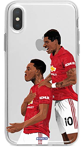 MYCASEFC - Cover per iPhone XR, motivo: calcio marziale e Rashford del Manchester United, in silicone trasparente Protezione sottile da calcio per telefono. Fabbricato in Francia