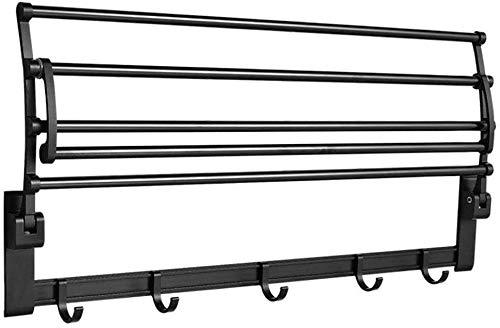 Rieles de Barra de Toallas Rack de Toalla de Aluminio Negro Plegable sin Punzones con baño con Ganchos Balcón (Tamaño: 40 cm)-50 cm Incomparable