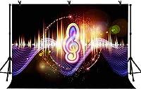 HD 10x7ftダイナミックミュージックシンボルの背景音楽テーマの眩しい色の背景パーティーの装飾バナー機能個人用ポートレート背景LYLS871