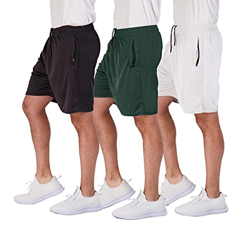 3 Pack: Men's 7 Inch Inseam Active Athletic Running Quick Dry Mesh Shorts Zipper Pockets Drawstring Basketball Bottoms Soccer Workout Gym Yoga Tennis Zippered Workout Clothes Wardrobe- Set 4, M