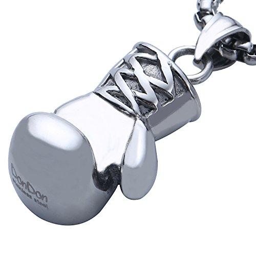 DonDon Herren Halskette Edelstahl 52 cm und Boxhandschuh Edelstahl mit schwarzem Schmuckbeutel