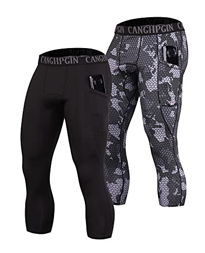 CANGHPGIN 2 Pack 3/4 Compression Pants Men with Pockets Dry Cool Sports Baselayer Running Workout Tights Leggings Shorts (Black+Camo, X-Large)