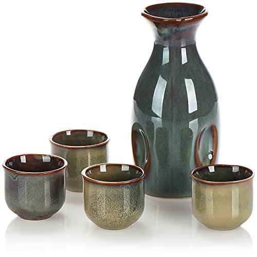 COM-FOUR® Juego de sake de 5 piezas, jarra de sake y 4 tazas de sake de cerámica, servicio de sake ingeniosamente vidriado para ceremonias de sake, gres de estilo japonés