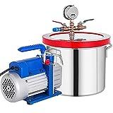 VEVOR Vacuum Chamber with Pump, 2 Gallon Vacuum Chamber, 3CFM 1/4HP Vacuum Pump with High-Capacity 2 Gallon Vacuum Chamber, Vacuum Degassing Chamber Kit for Automobile Maintenance, Vacuum Packaging